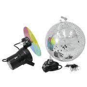Discokugel-Set NIGHT FEVER mit Pinspot und Farbscheibe, Ø 30cm, silber