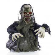 Halloween Zombie / Untoter ERNEST mit schaurigen Geräuschen, Bewegungsfunktion, LEDs, 60cm